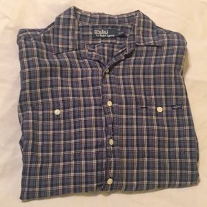 Polo Ralph Lauren Blue Plaid Button Down Shirt XL